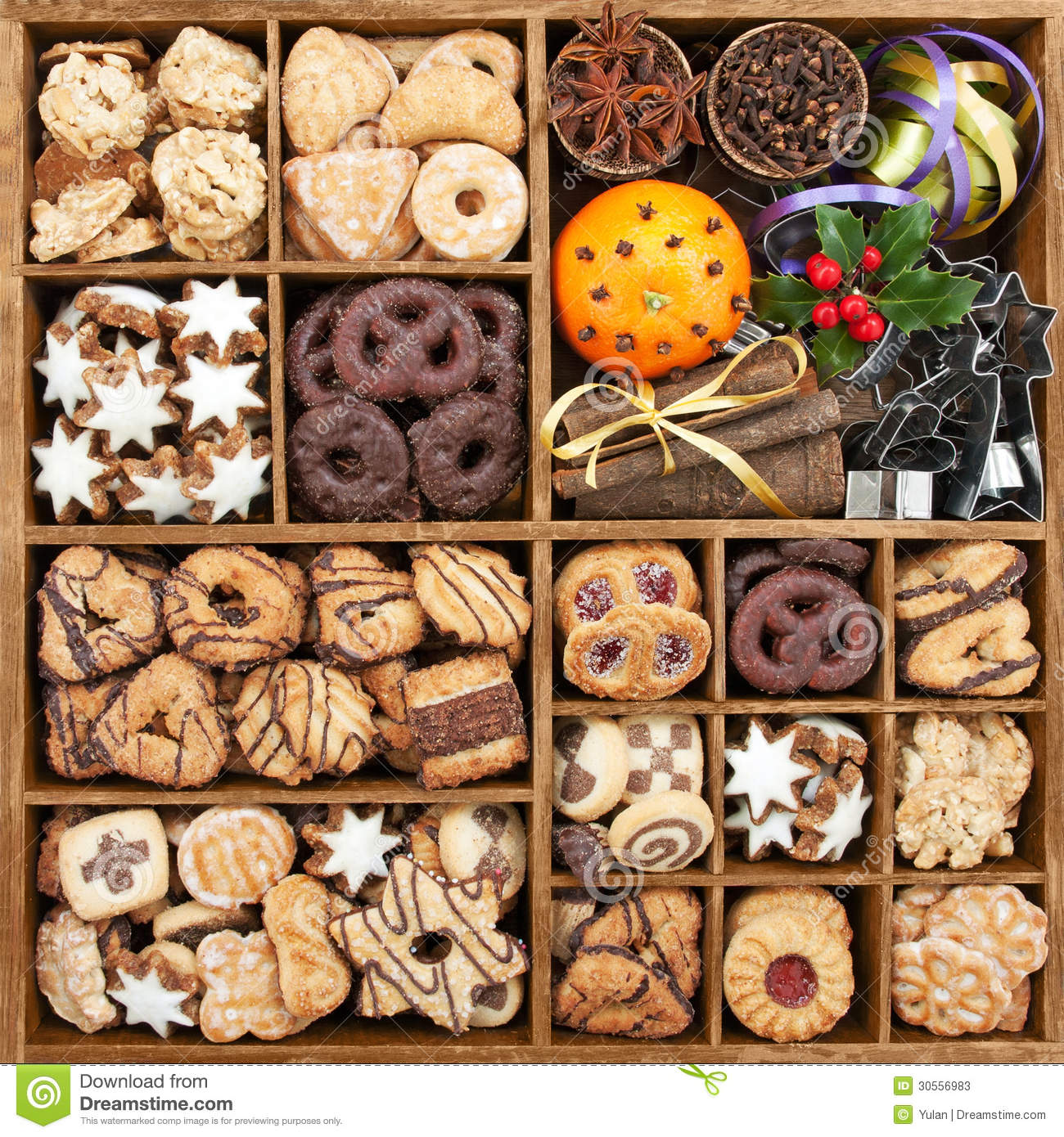 Christmas Cookies Box.Assorted Christmas Cookie In Box Stock Image Image Of