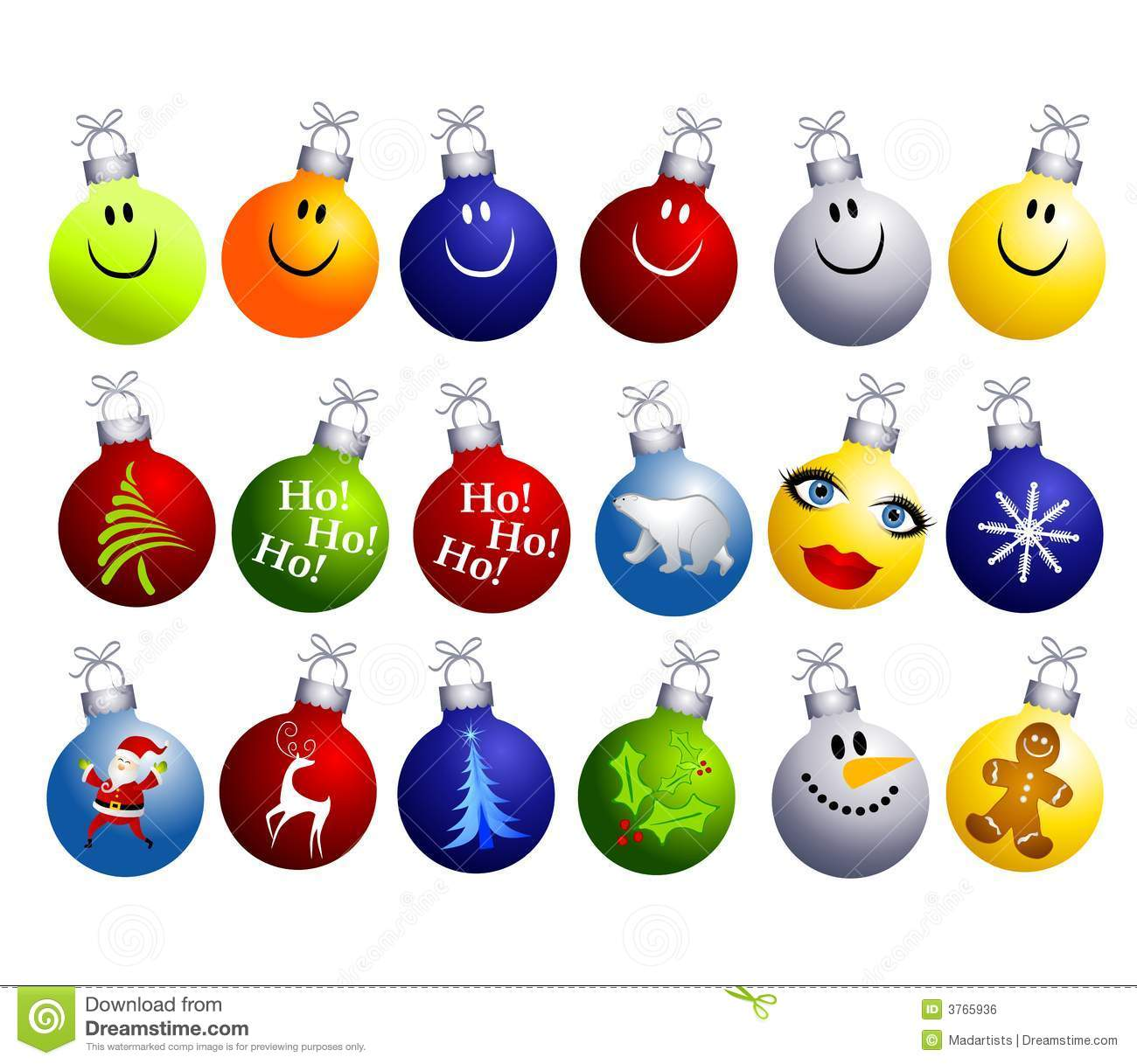Christmas decorations clipart images - Assorted Christmas Ornaments Clip Art