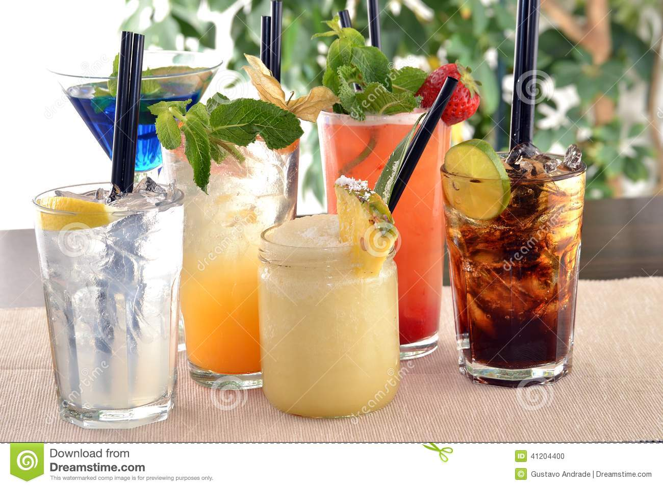 Assorted cocktails stock photo image 41204400 for Mixed alcoholic drinks list