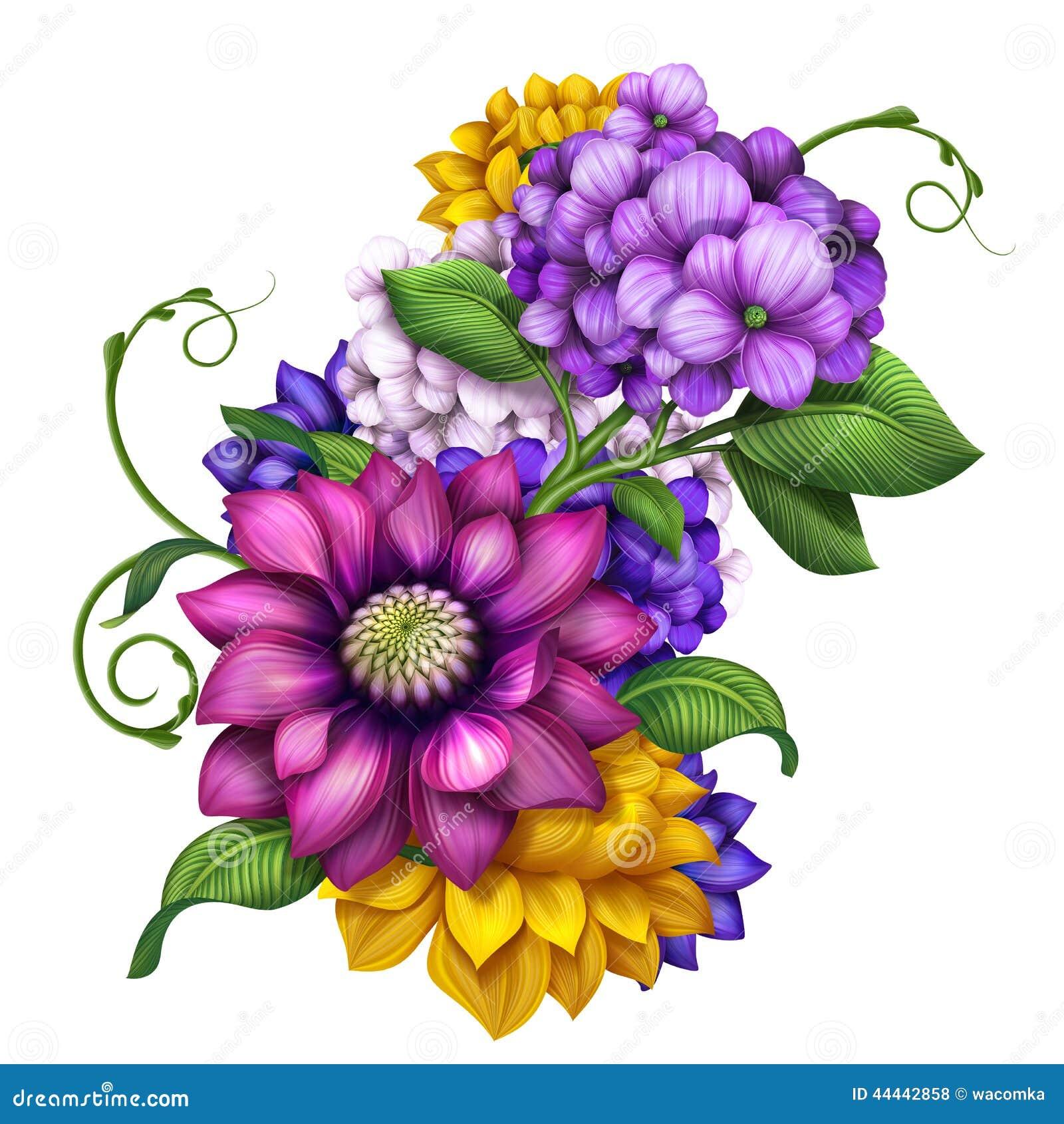 Assorted Colorful Autumn Flowers Clip Art Illustration ...