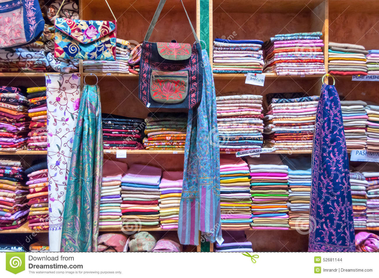 Assorted Colorful Fabrics On Display In A Shop Muttrah Souk