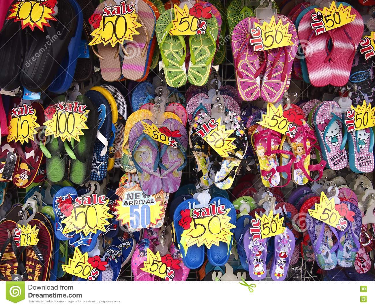 Assorted Colorful Rubber Slippers On