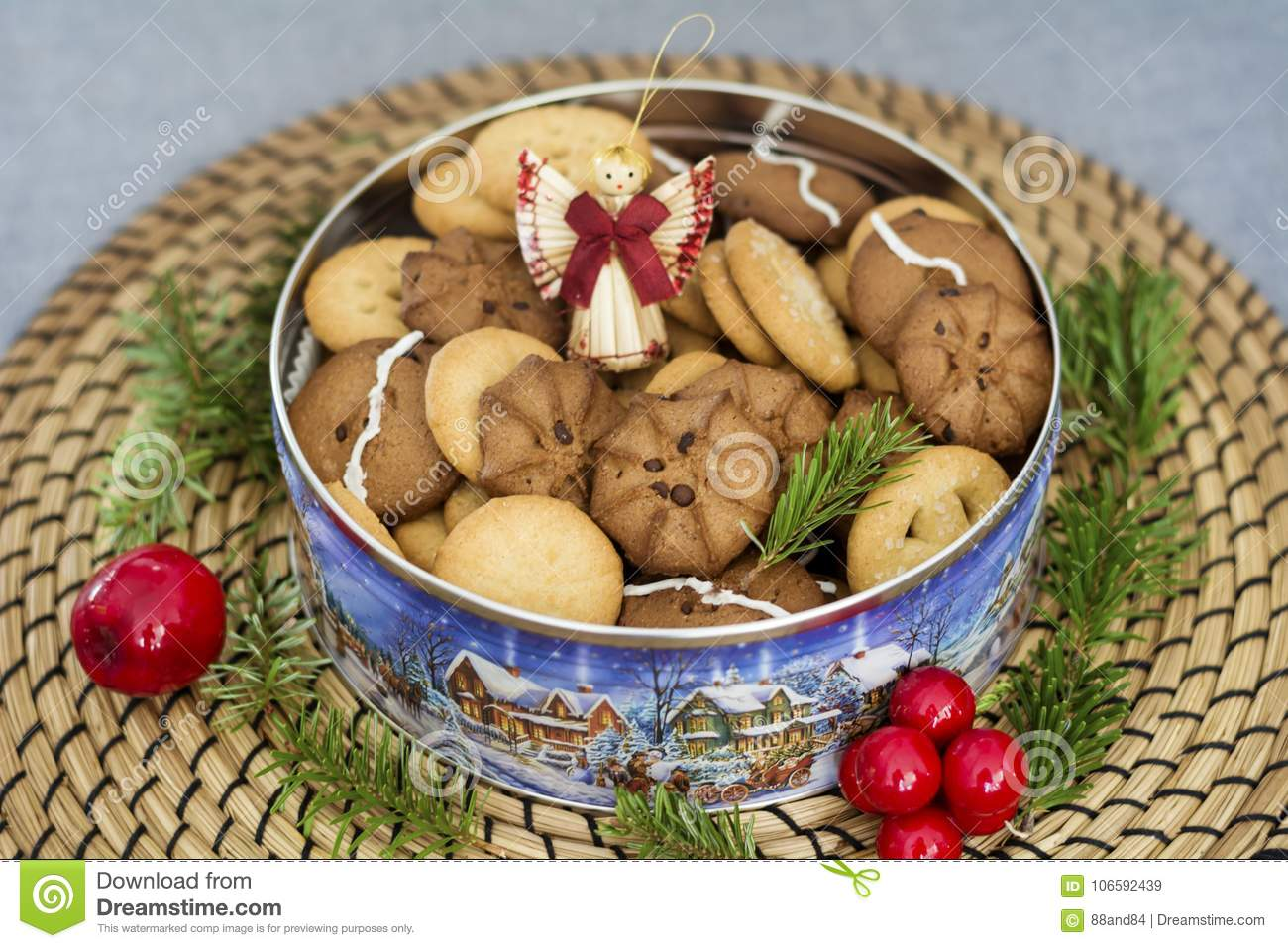 Assorted Cookies And Decorative Angel Stock Image Image Of Candies