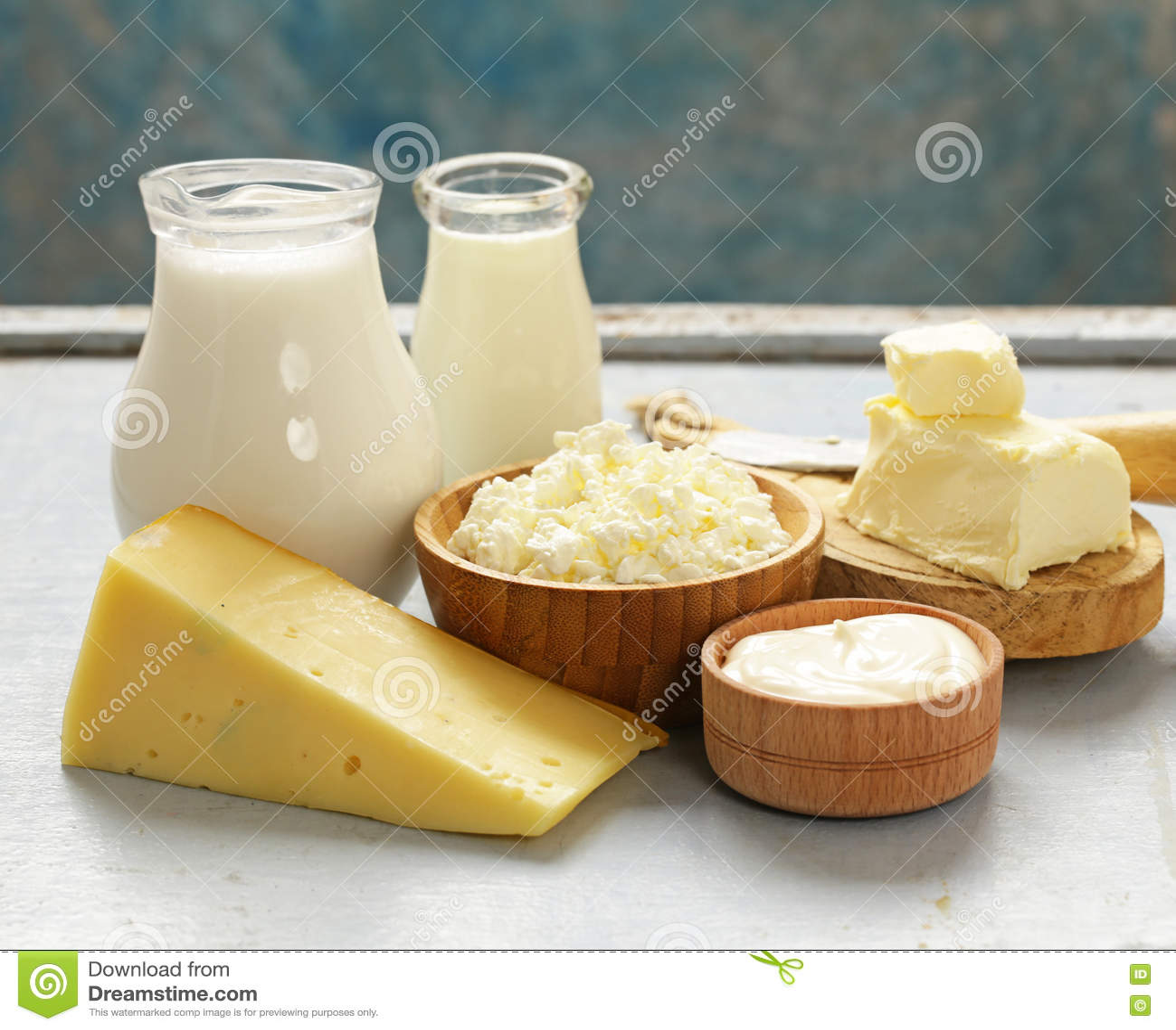 Assorted dairy products milk, yogurt, cottage cheese, sour cream