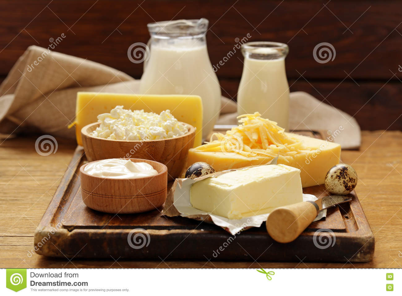 Assorted Dairy Products Milk Yogurt Cottage Cheese Sour
