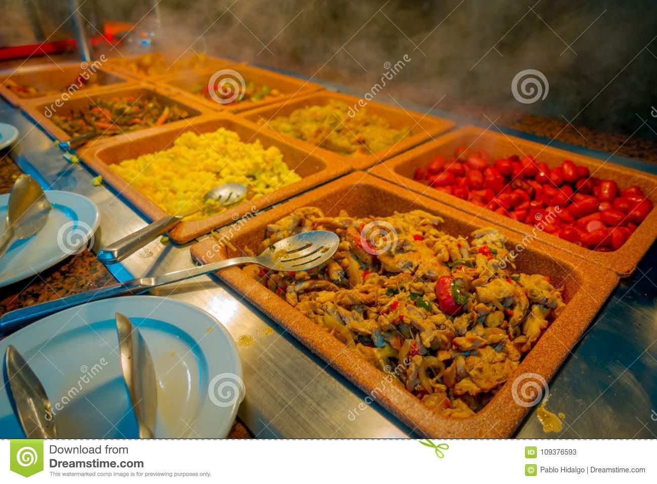 Assorted Of Delicious Food Inside Of Plastic Trays Served At
