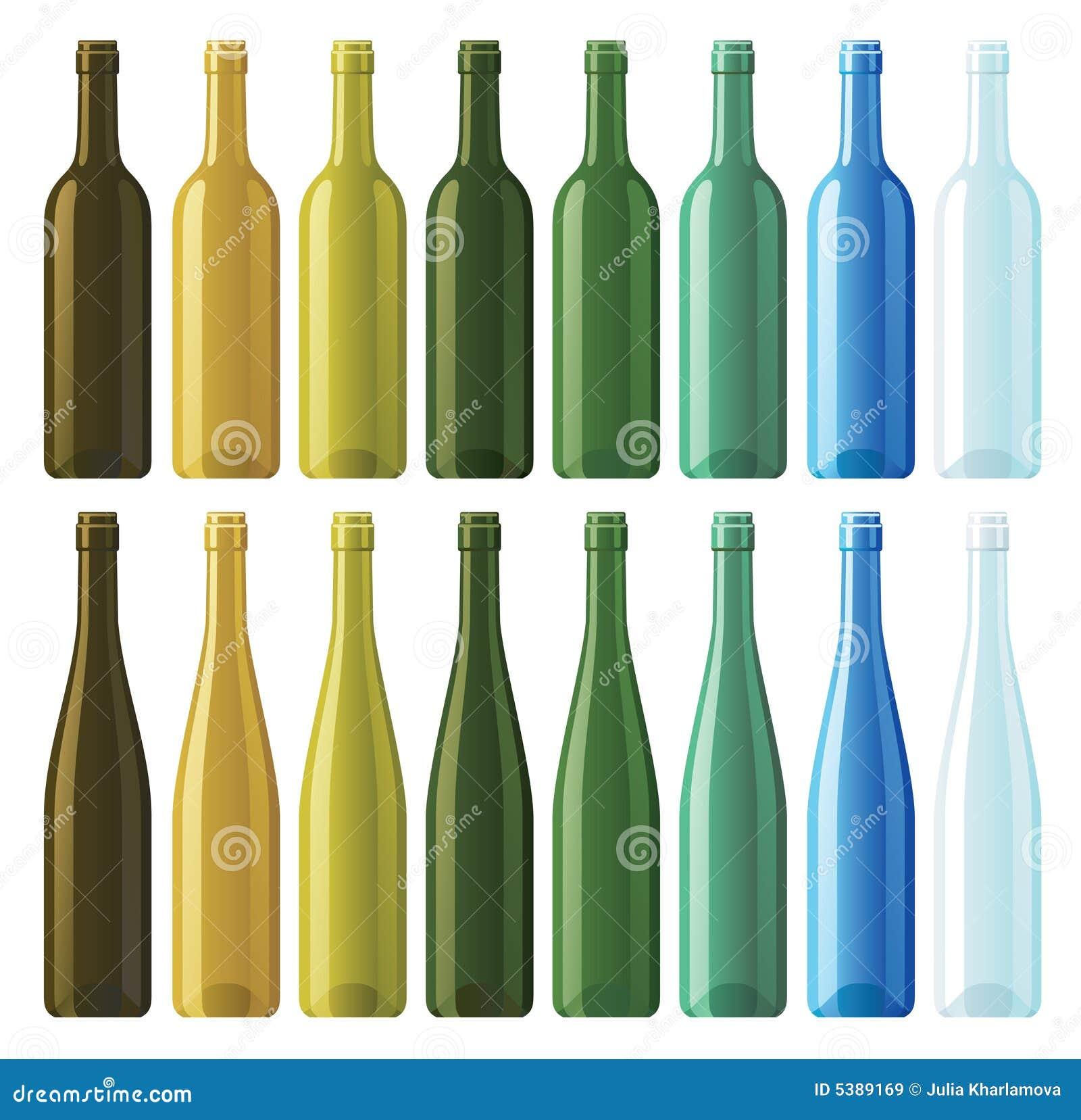 Assorted empty wine bottles stock vector image 5389169 - Empty colored wine bottles ...