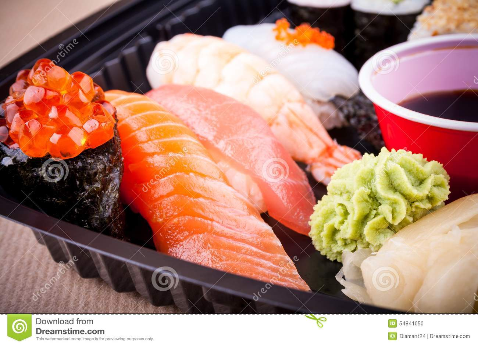 Assorted fish sushi with salmon caviar ikura stock photo for Fish for sushi