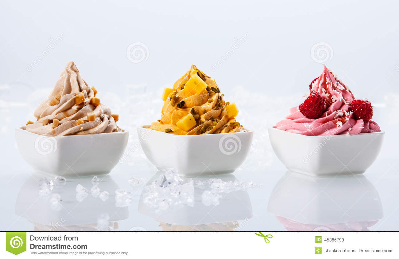 Assorted Flavor Frozen Yogurts On White Bowl Stock Image ...
