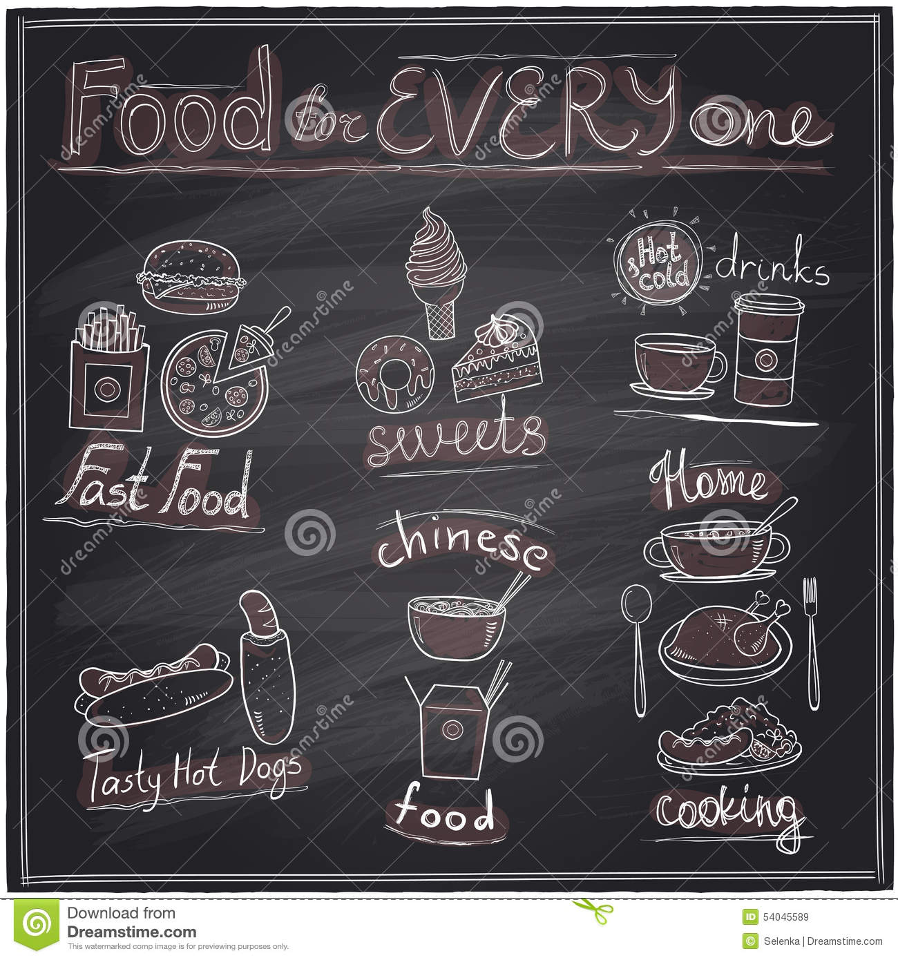 hand drawn food and drinks graphic symbols on a chalkboard stock