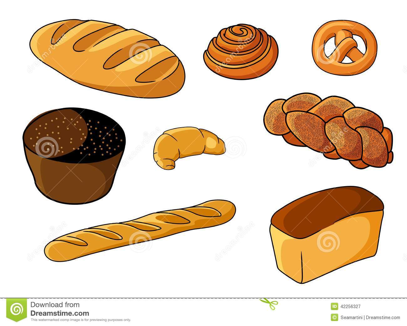 ... , plaited loaf, white bread and roll, vector illustration on white