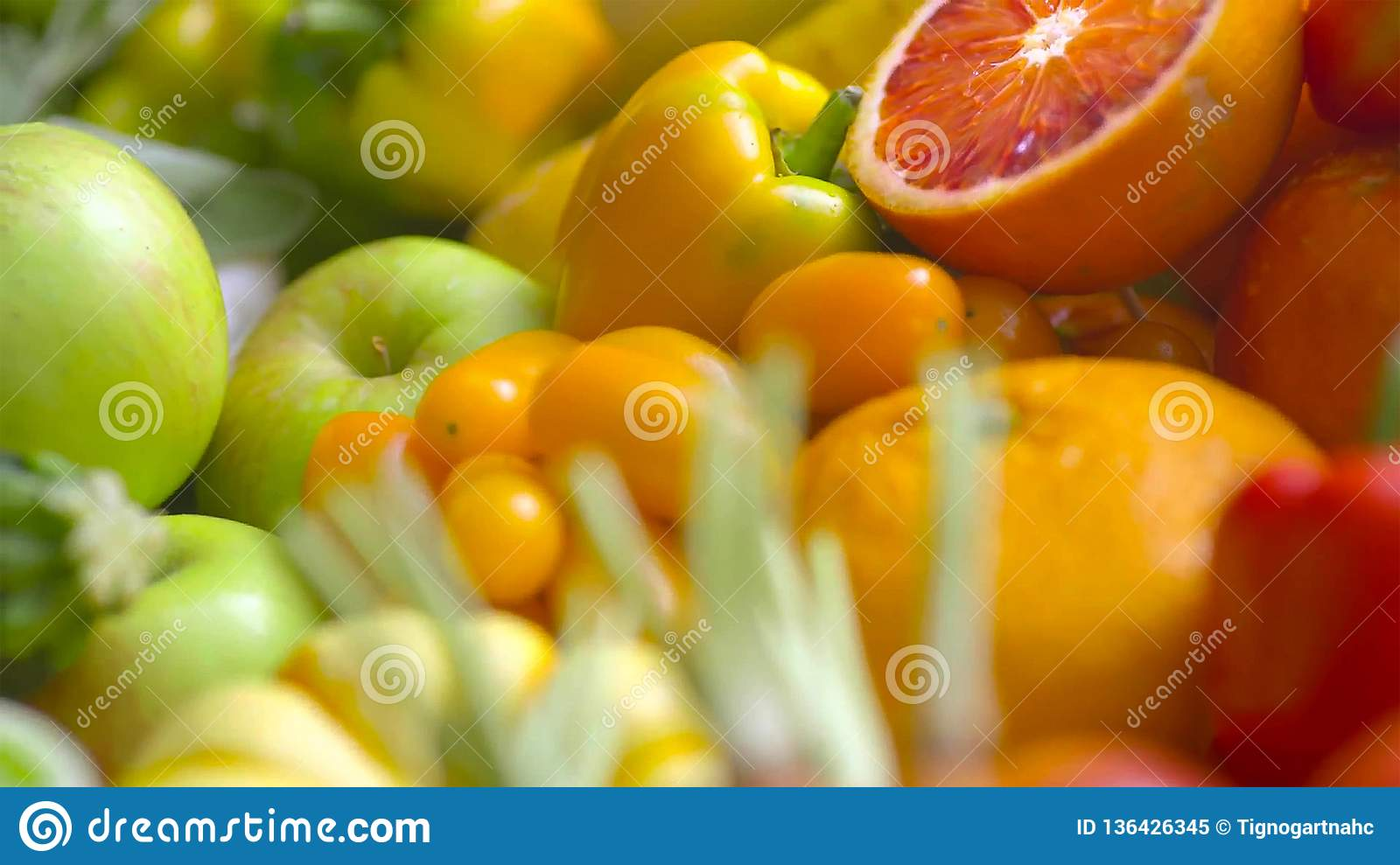 Assorted fresh ripe fruits and vegetables. Food concept background