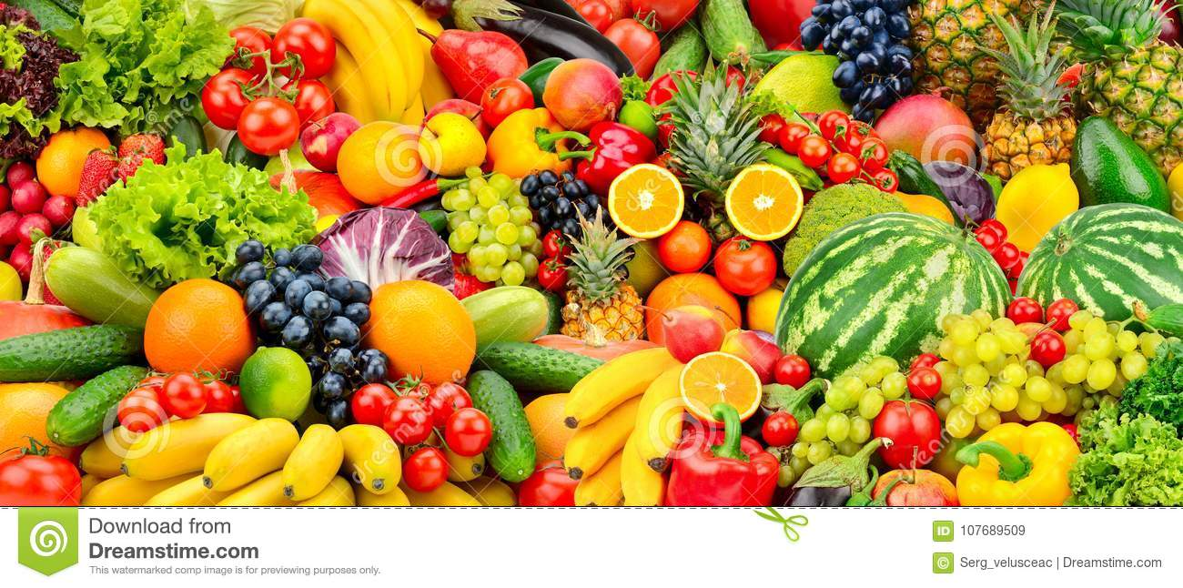 Assorted Fresh Ripe Fruits And Vegetables. Food Concept ...