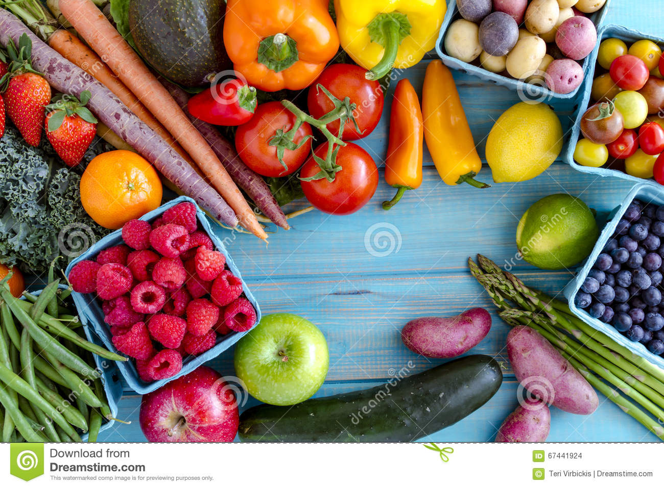Assorted Fruits And Vegetables Background Stock Photo ...