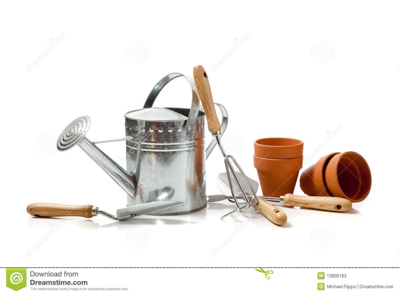 Assorted gardening supplies on a white background stock for Tools and equipment in planting