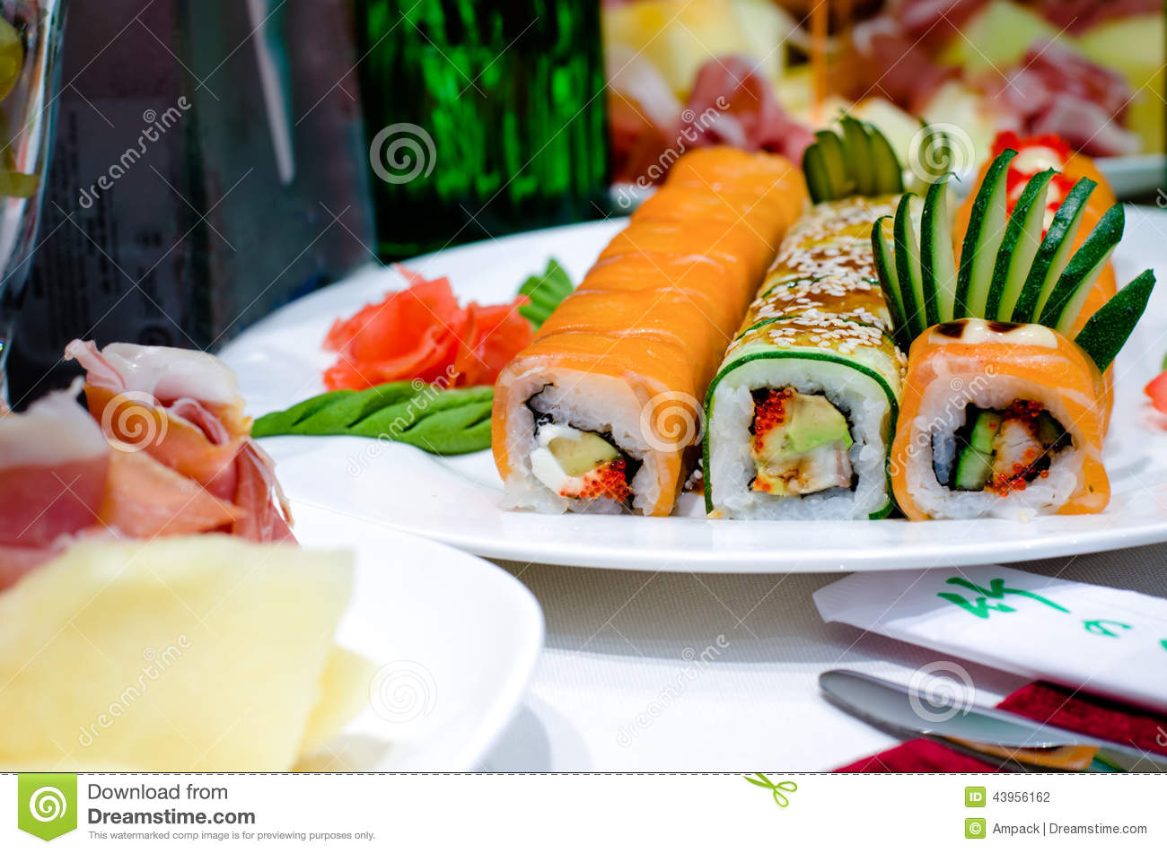 Assorted Gourmet Sushi Rolls On A Buffet Stock Photo ...