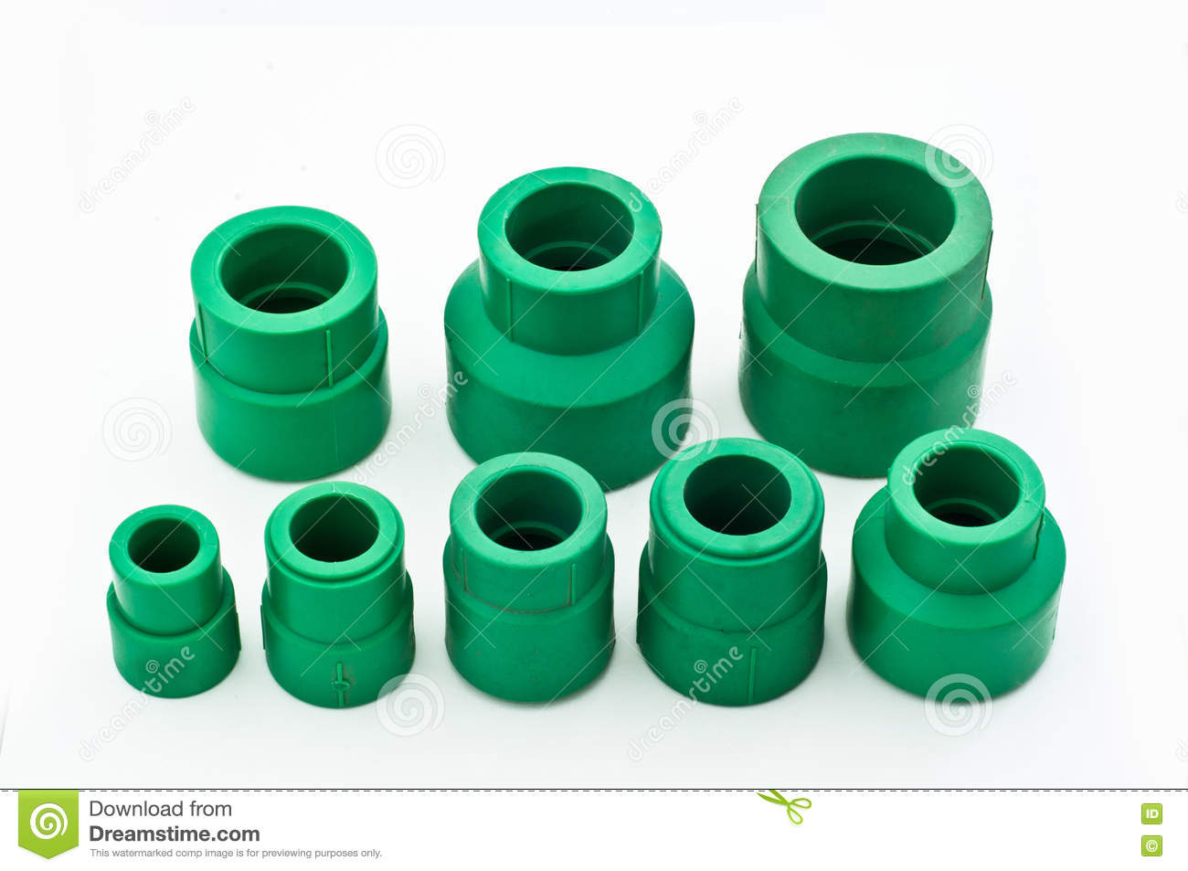 Assorted green pvc pipe fittings stock photo image
