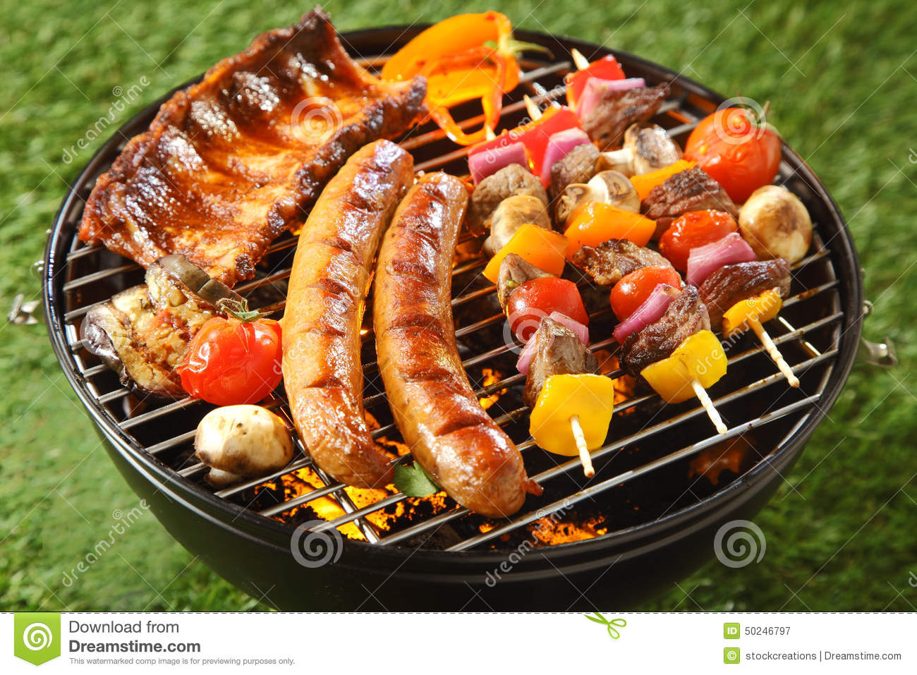 assorted grilled meat on a summer barbecue stock image image 50246797. Black Bedroom Furniture Sets. Home Design Ideas