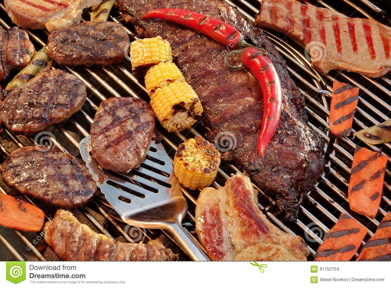 Assorted Grilled Meat With Vegetable On The Hot BBQ Grill