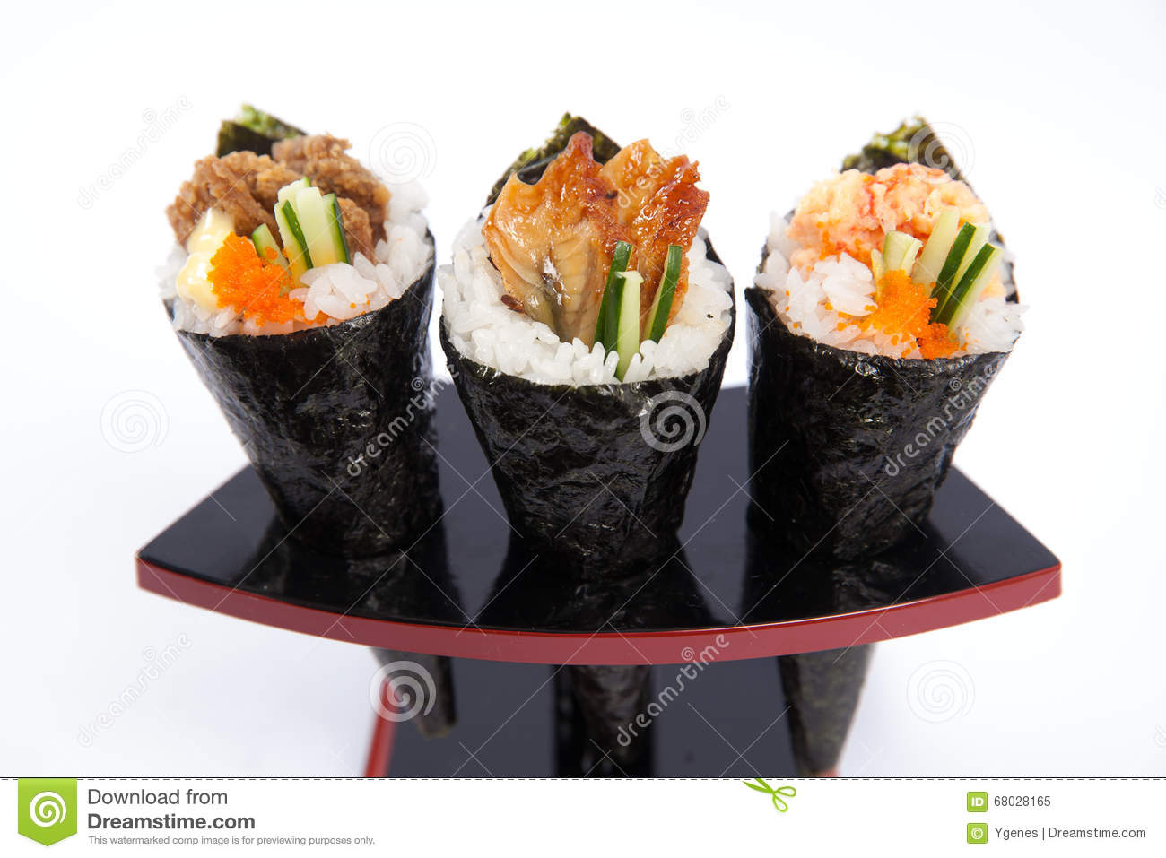 Assorted Hand Roll Temaki on a standing tray, white background.