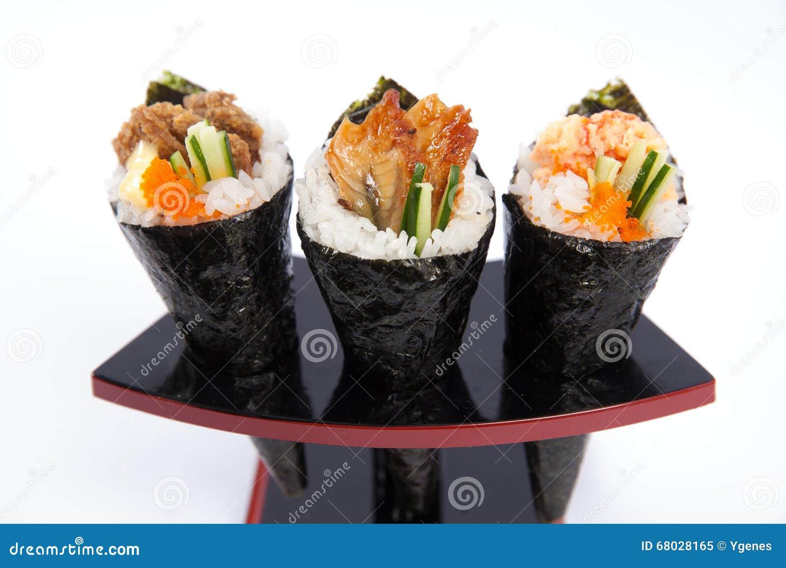 Assorted Hand Roll Temaki Stock Photo - Image: 68028165