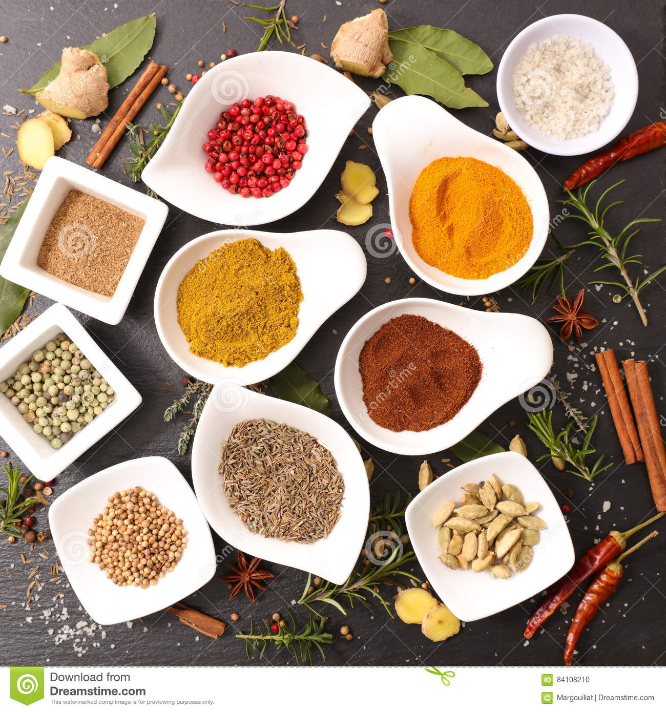 Assorted herbs and spices stock photo  Image of different