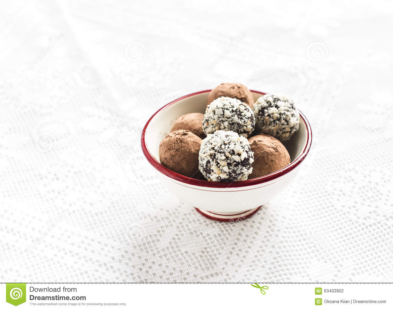 Chocolate Truffles In A Round Bowl Stock Photo
