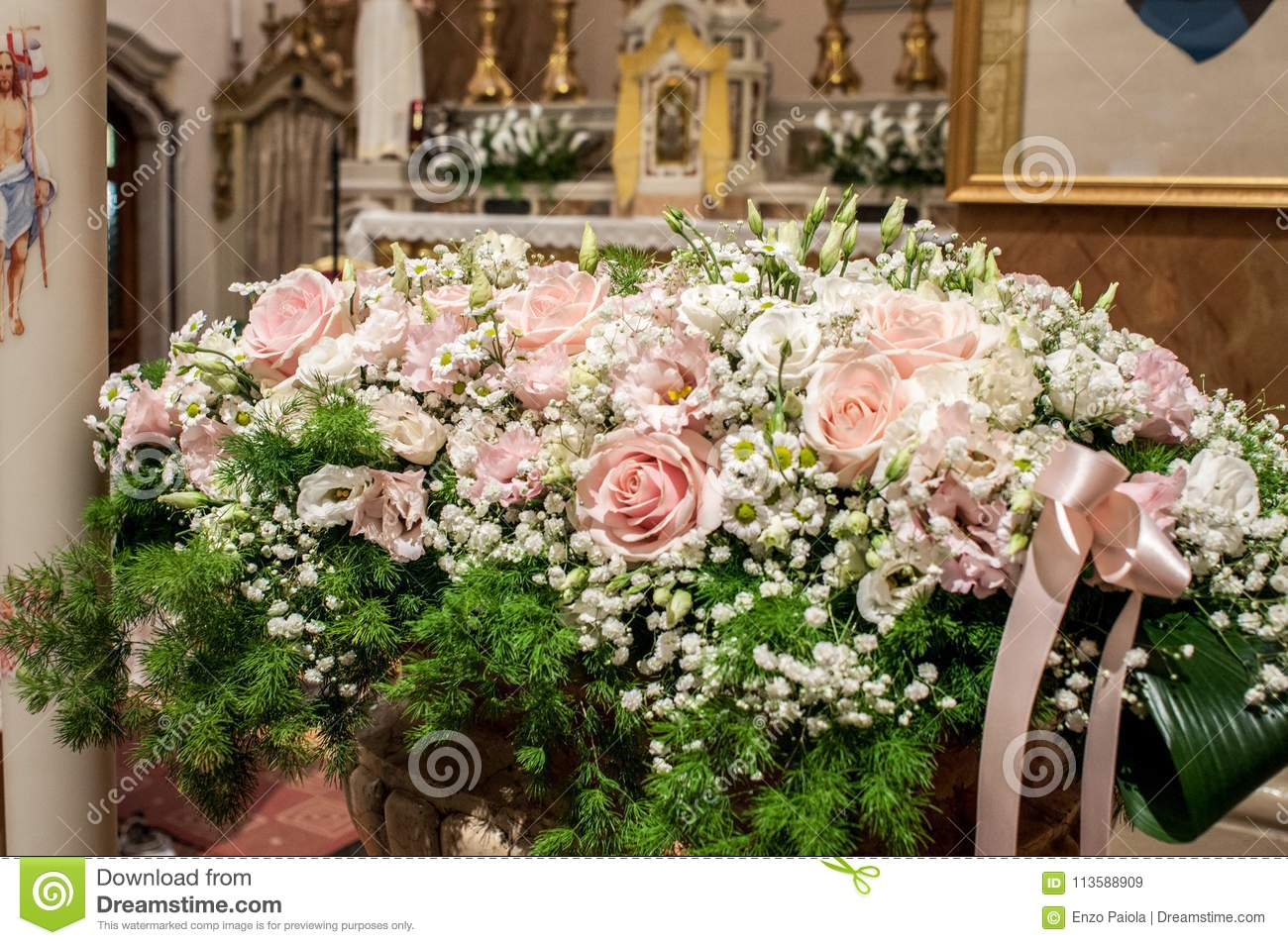 Floral decorations at the wedding ceremony stock image image of assorted ideas for florals used in the wedding ceremony either inside floral arrangements flower arrangements and wedding bouquets izmirmasajfo
