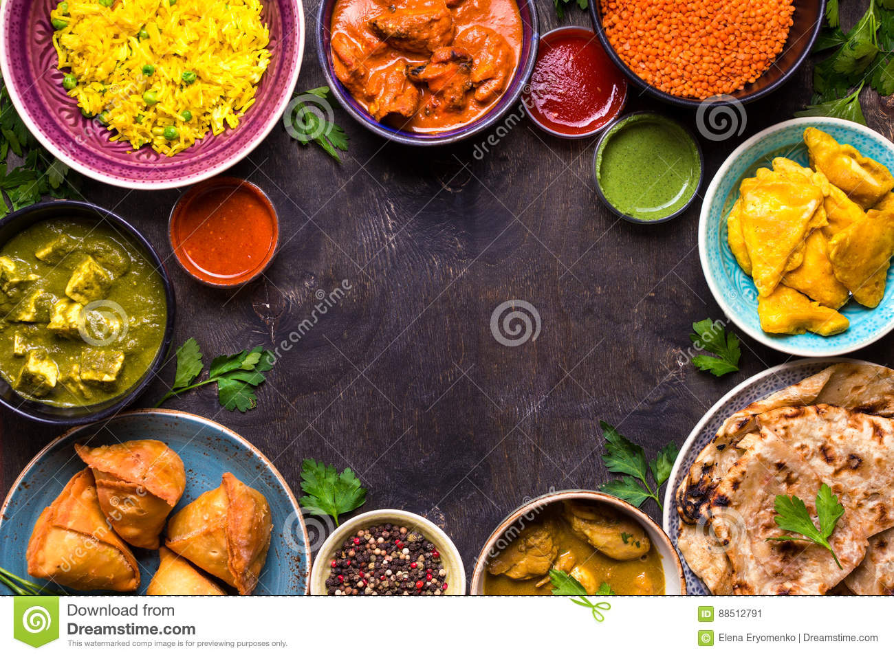 Download Assorted indian food stock image. Image of chicken, butter - 88512791