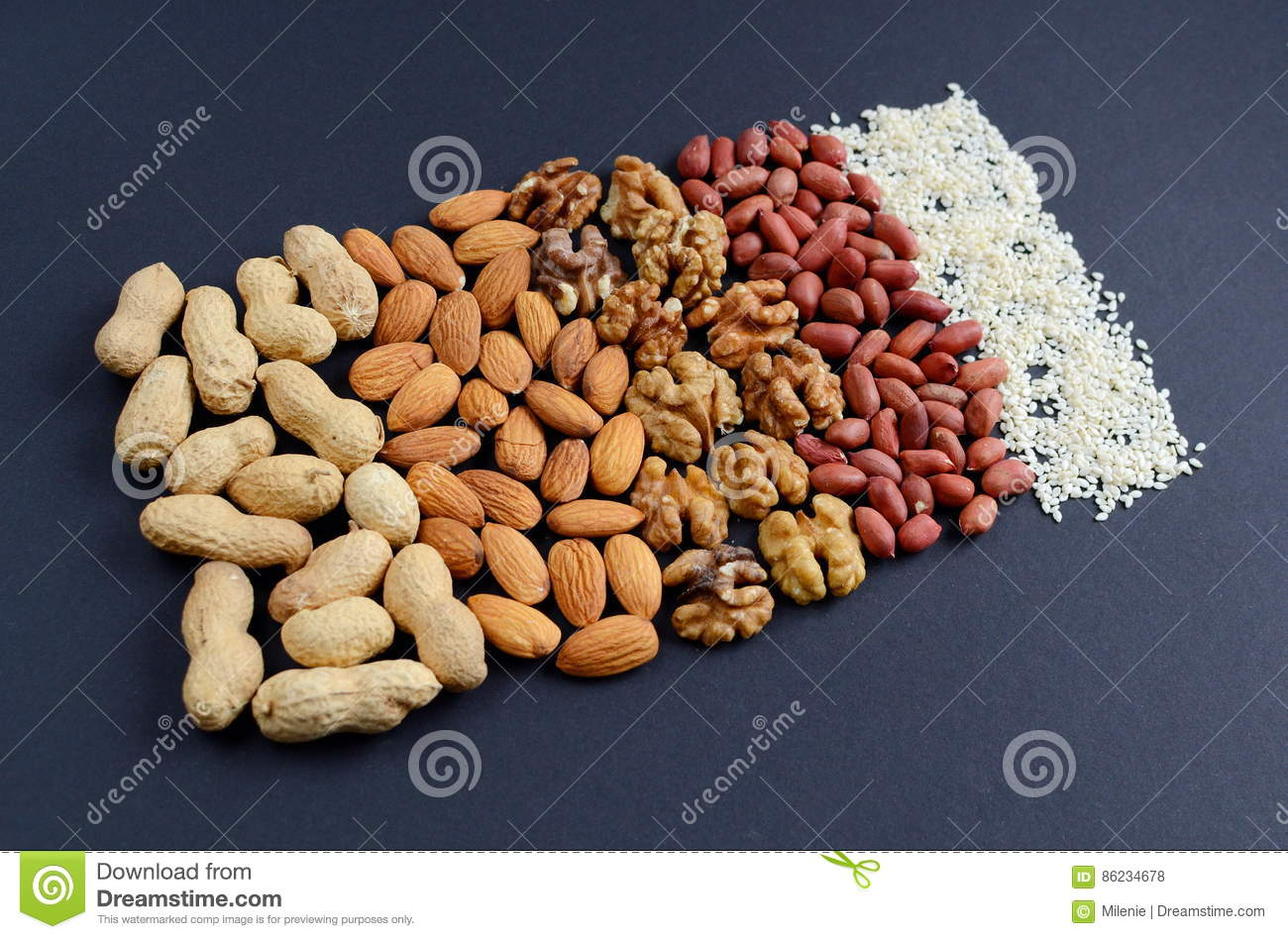 Assorted Mixed Nuts, Peanuts, Almonds, Walnuts And Sesame