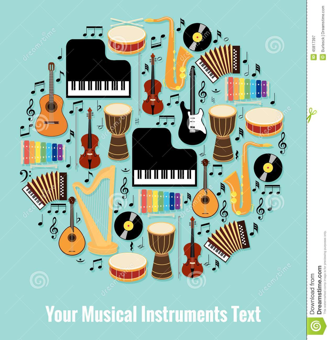 Assorted Musical Instruments Design with Text Area