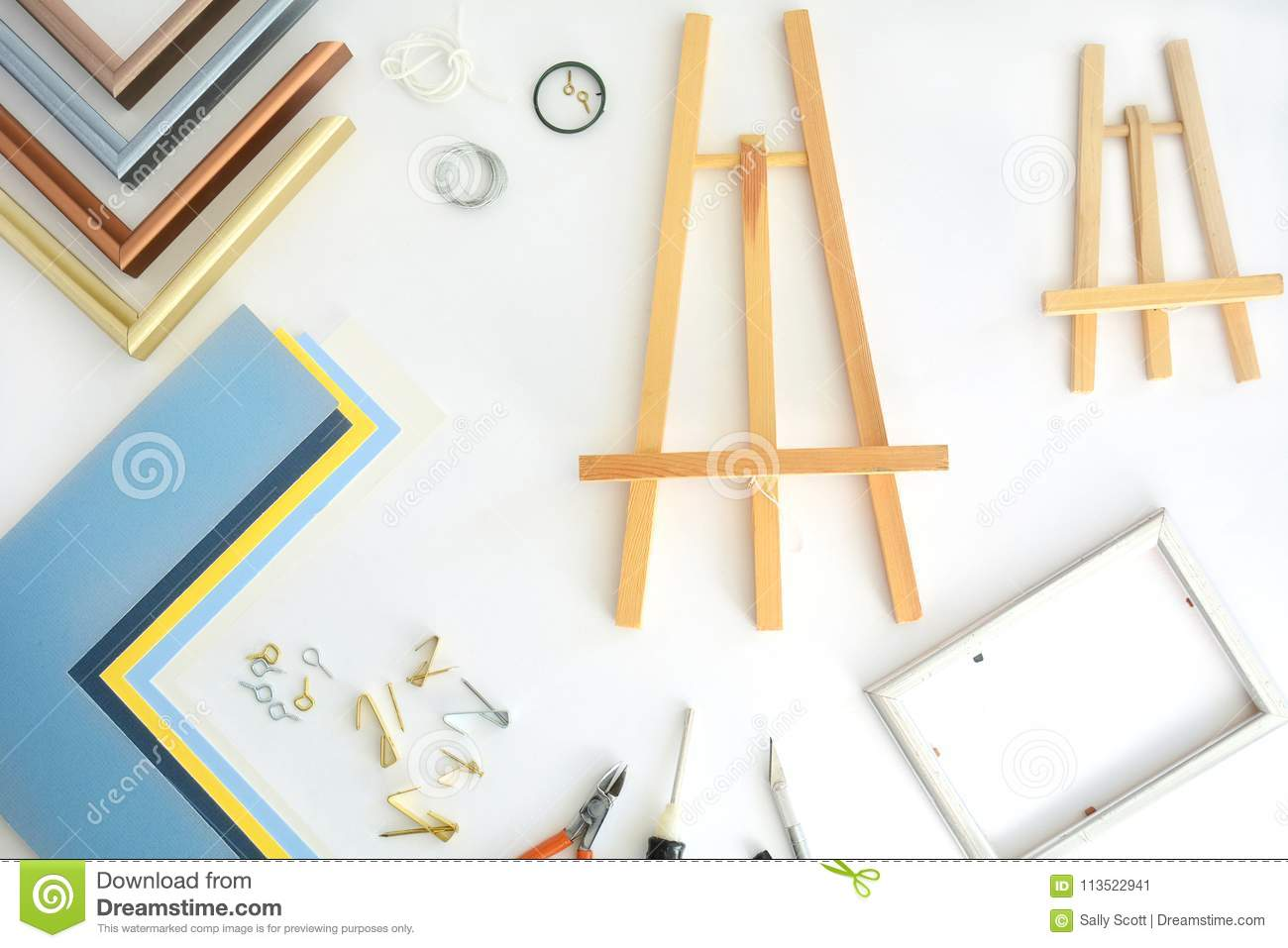 Picture Framing Tools Flat Lay Stock Image - Image of white, framing ...