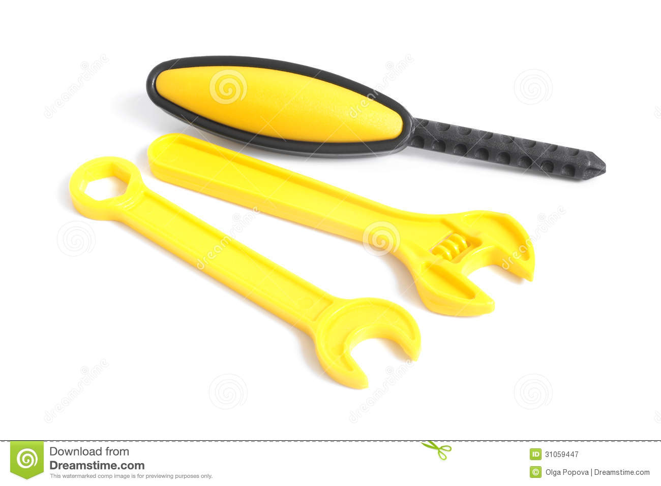 Plastic Toy Tools : Assorted plastic toy tools royalty free stock photography