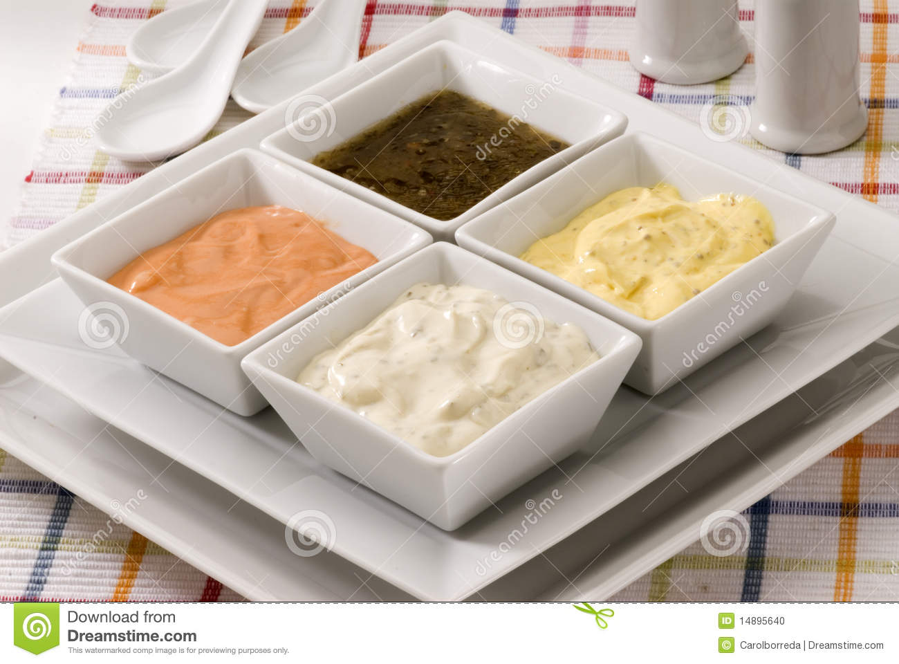 Assorted sauces.