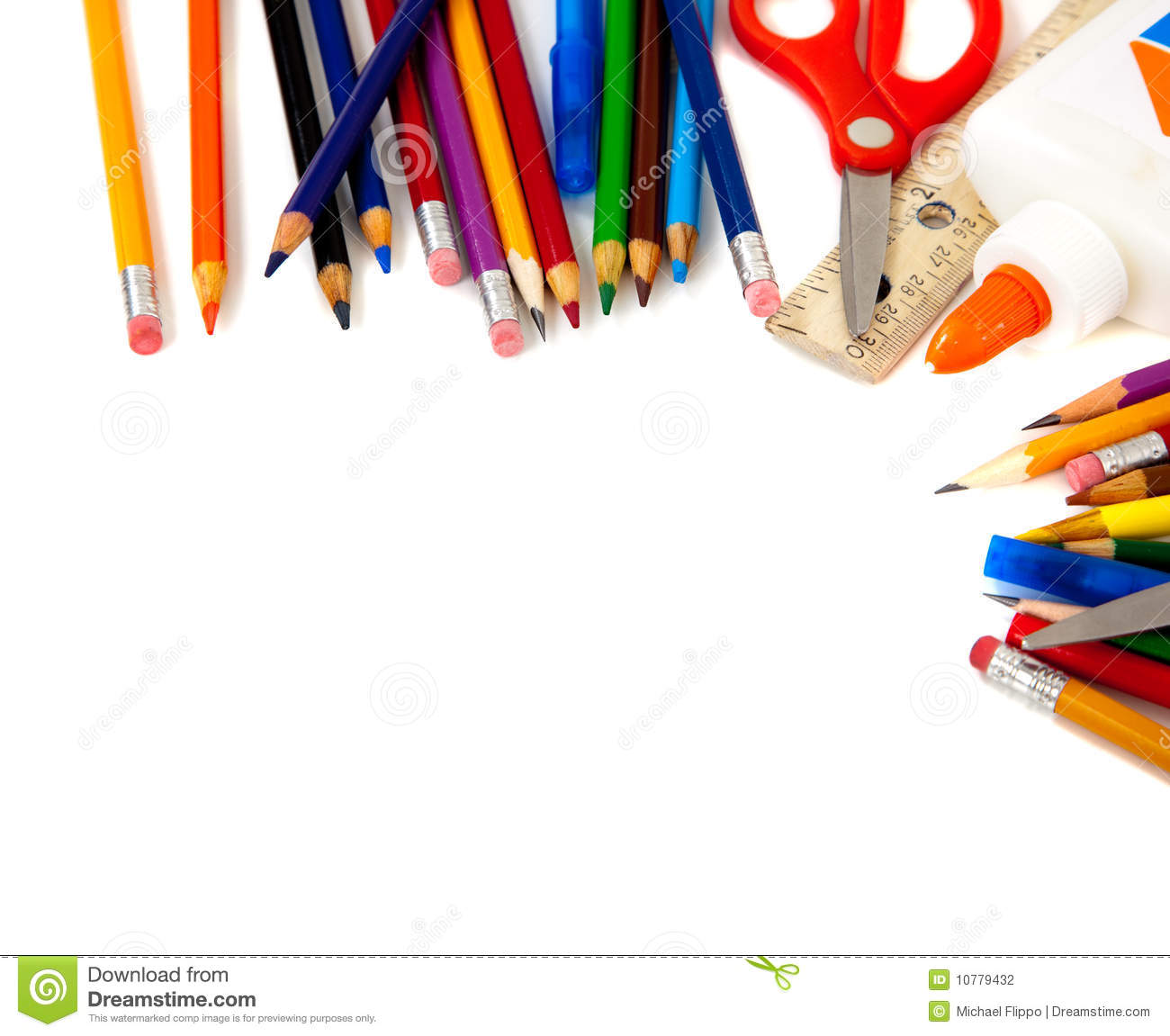 Assorted school supplies, including pens, pencils, scissors, glue and ...