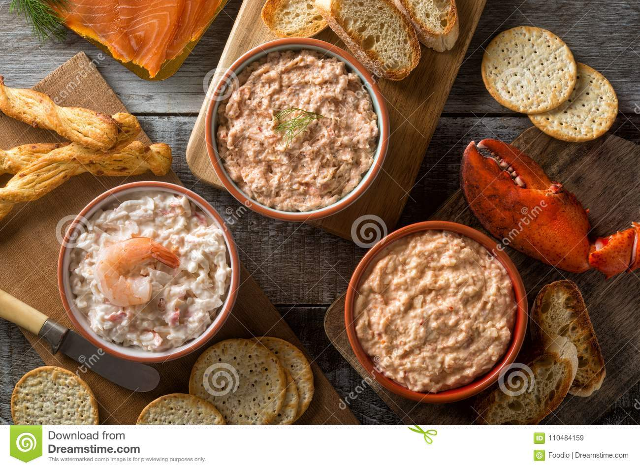 Assorted Seafood Spreads and Dips