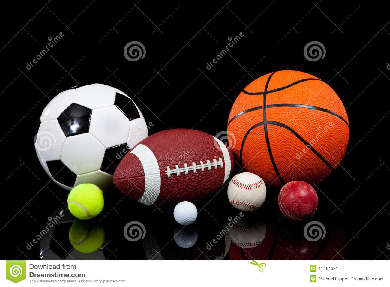 Color Sport Background Football Basketball Hockey Stock: Assorted Sports Balls On A Black Background Stock Image