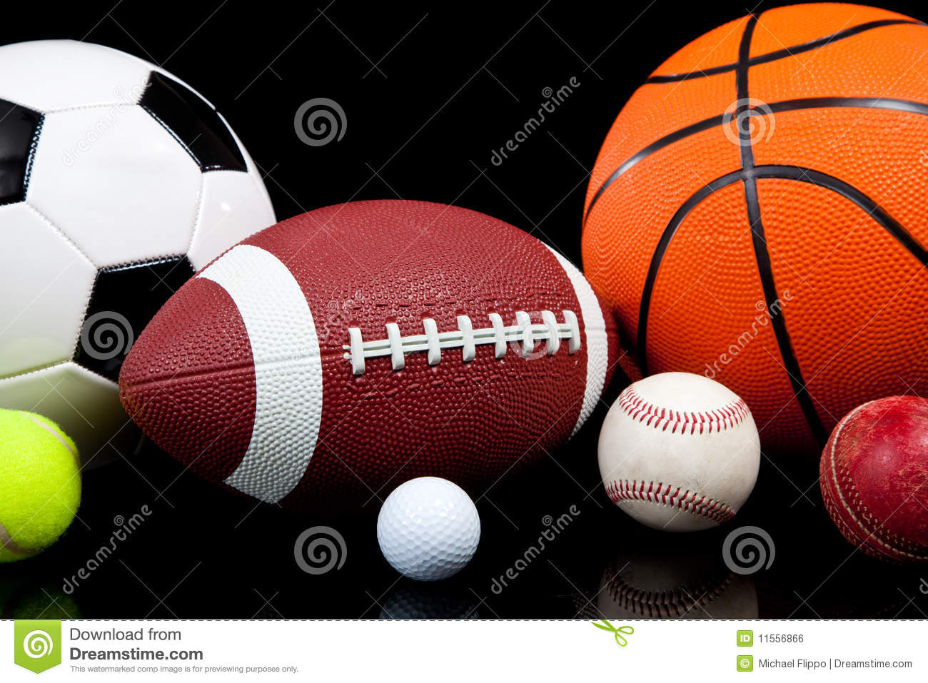 Color Sport Background Football Basketball Hockey Stock: Assorted Sports Balls On A Black Background Stock Photo