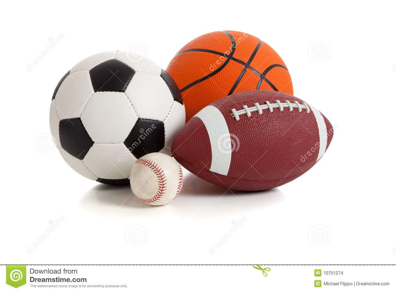 Assorted sports ball on a white background. Includes a soccer ball, a ...