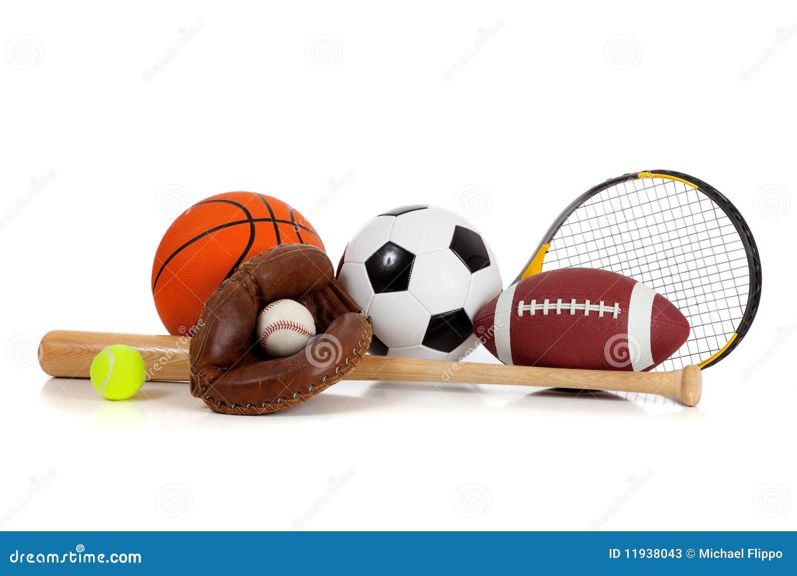 Sporting Goods Equipment ~ Assorted sports equipment on white stock image