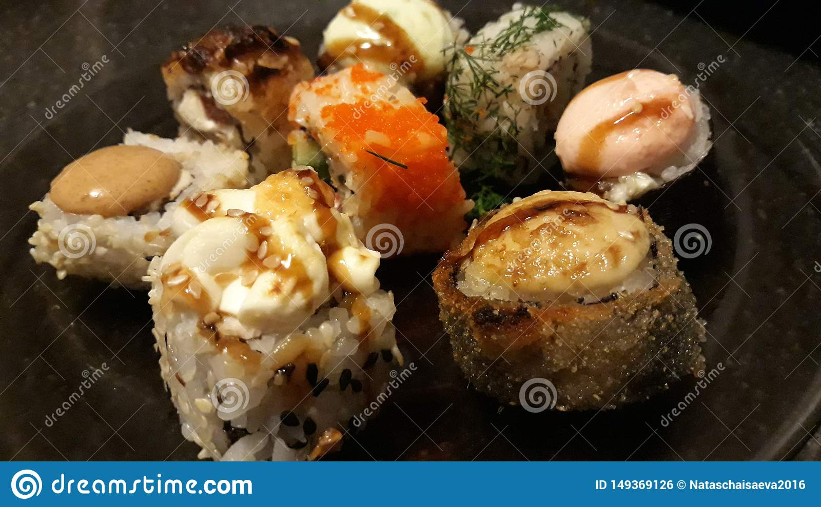 Assorted sushi and rolls