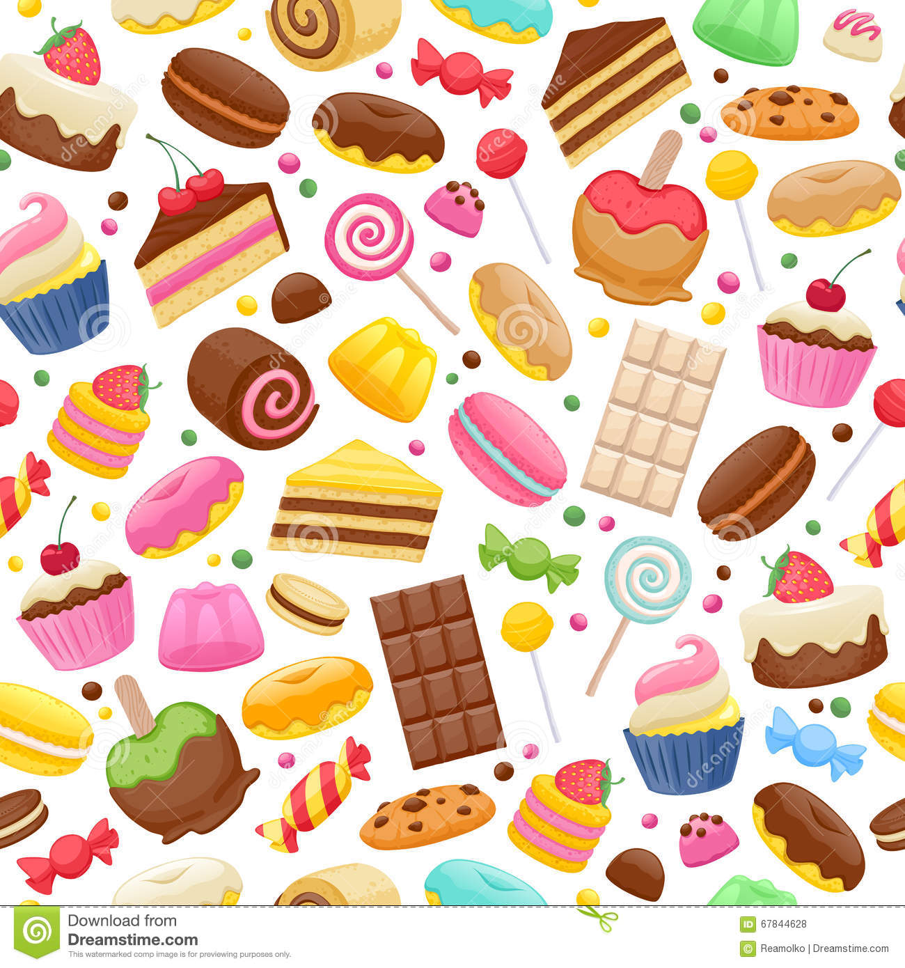 Assorted Sweets Colorful Seamless Background Stock Vector