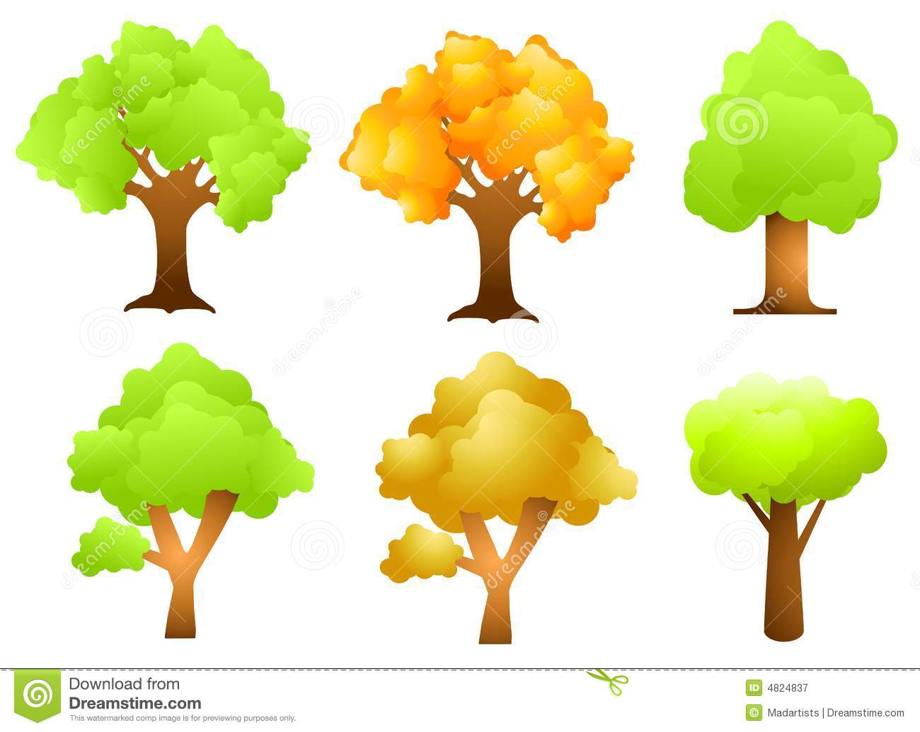 assorted trees clip art stock vector illustration of spring 4824837 rh dreamstime com clip art of trees with leaves clipart of trees and grass