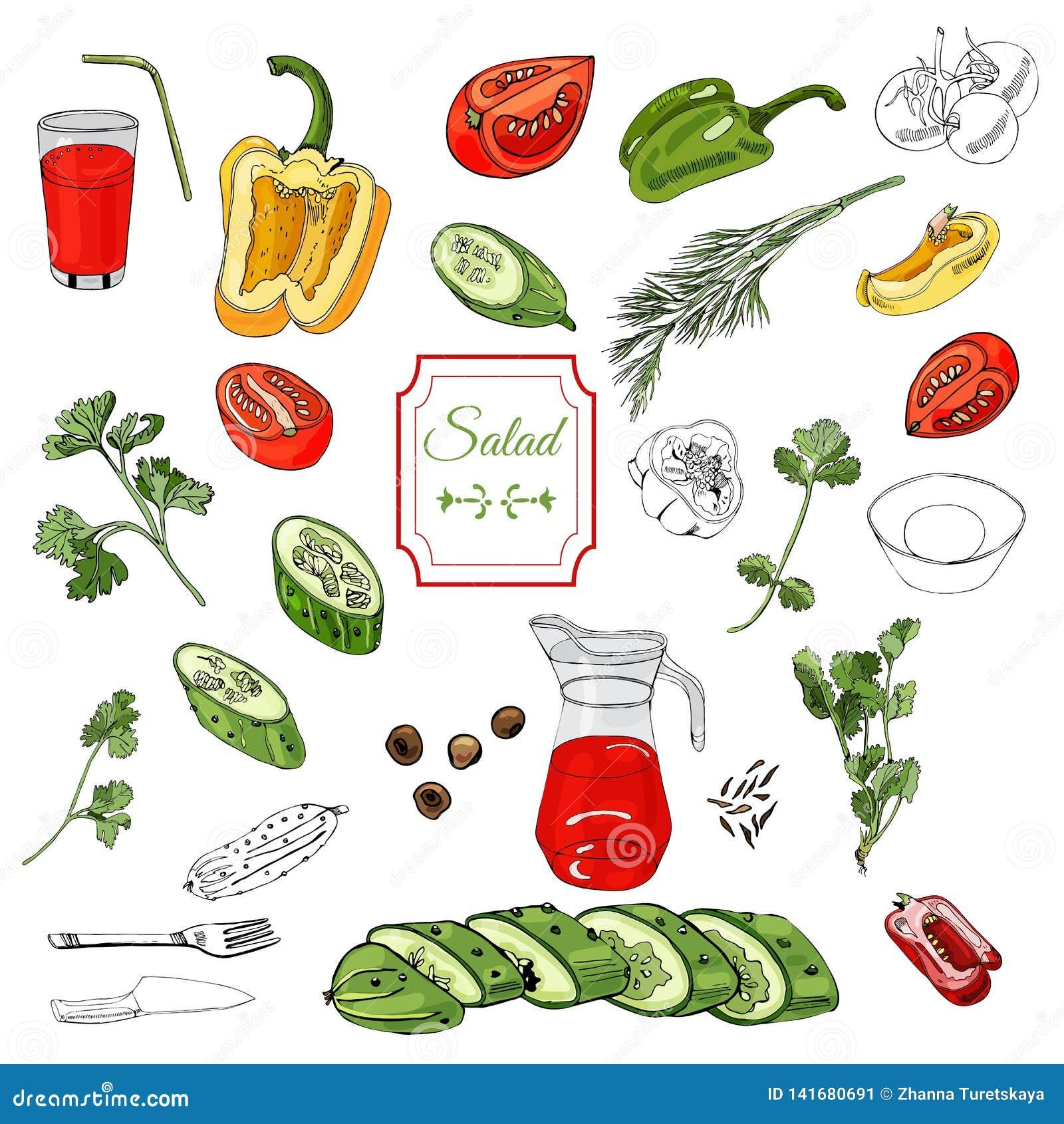 Assorti des légumes Poivrons rouges, verts et jaunes, tomates, concombres et au-dessus de différents encre et éléments de couleur