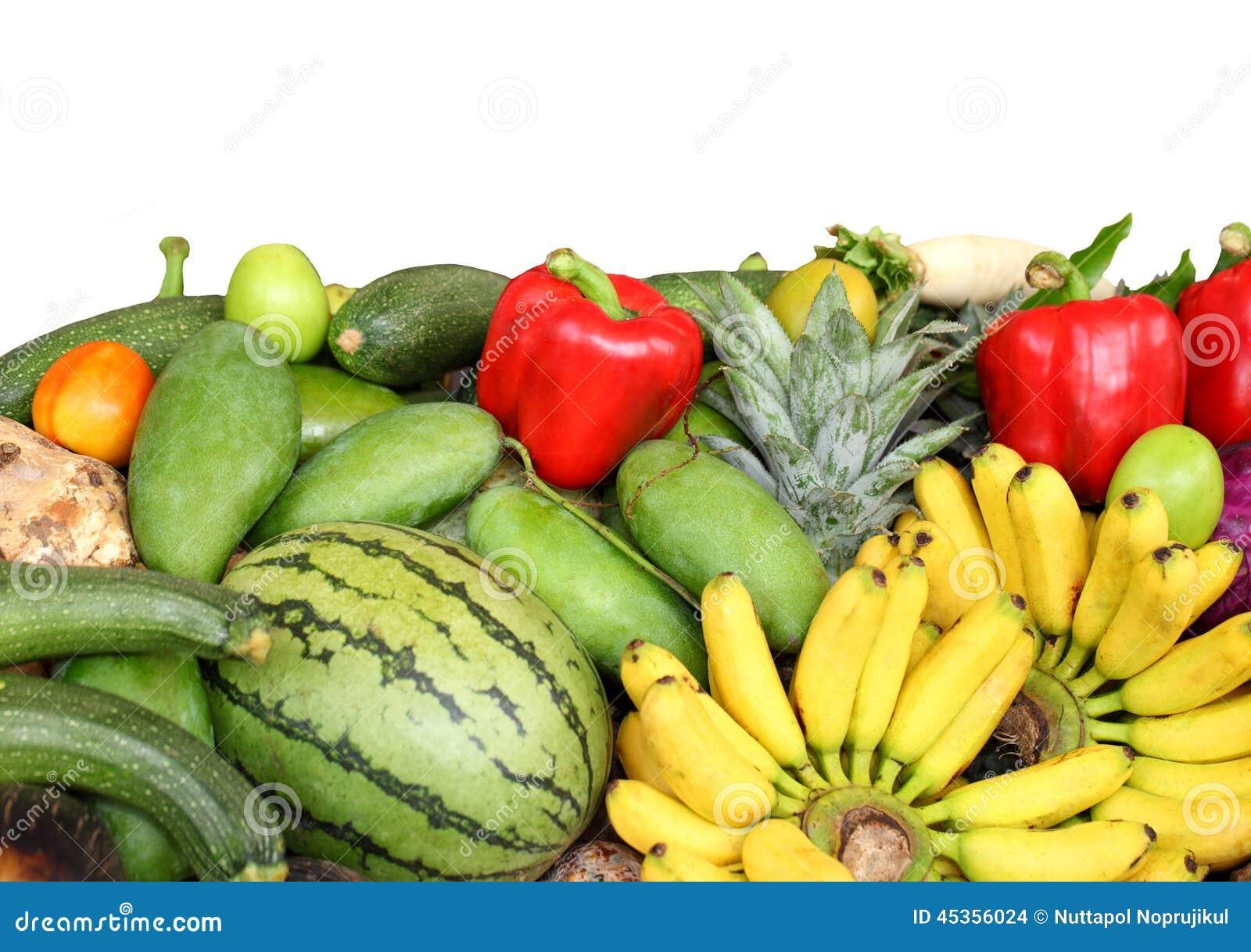 Assortiment des fruits frais et des légumes, d isolement sur le blanc