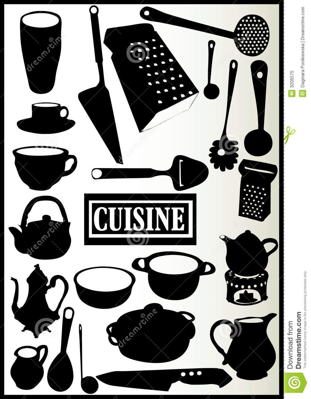 Assortiment des ustensiles de cuisine photo libre de for Ustensils cuisine