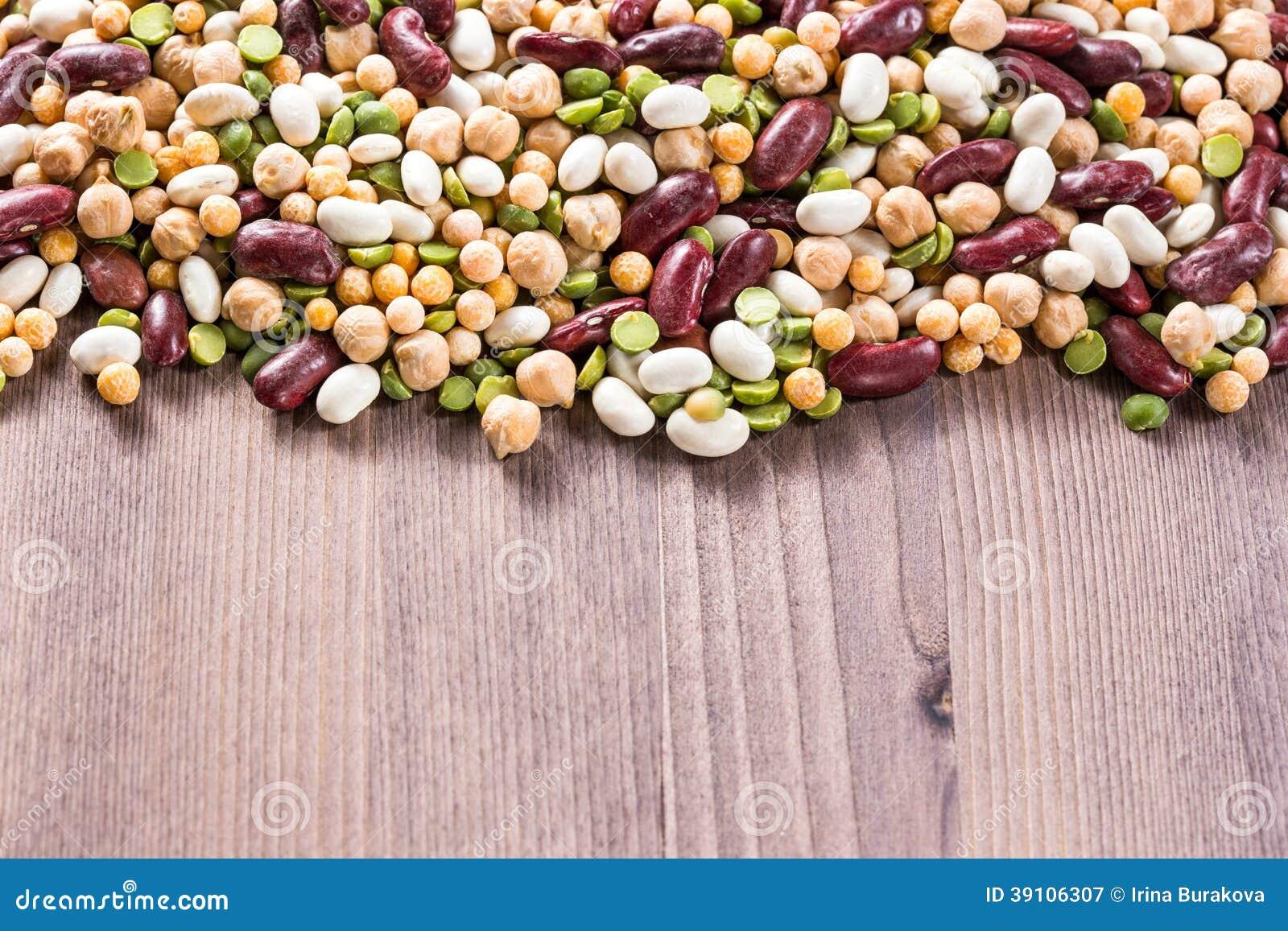 Assortiment van verschillende types van bonen