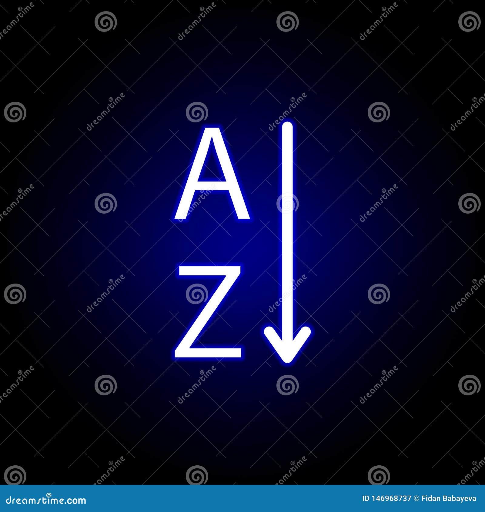 Assortissez le texte, le mot A et l icône de Z dans le style au néon Peut ?tre employ? pour le Web, logo, l appli mobile, UI, UX