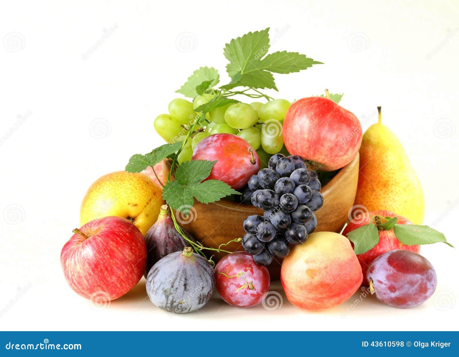 ... autumn harvest fruit grapes figs apples plums assortment autumn