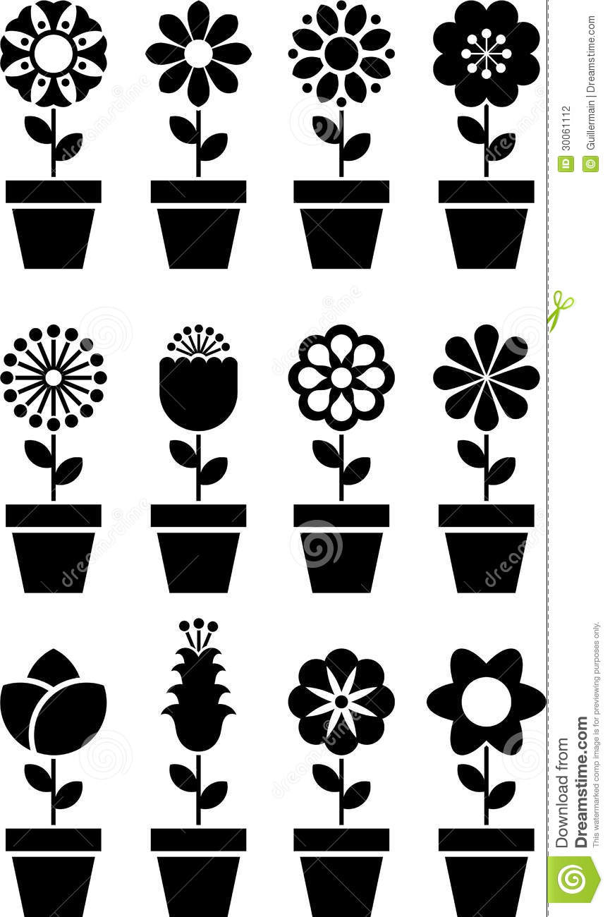 Flowers in Pots Icons stock vector. Illustration of ...